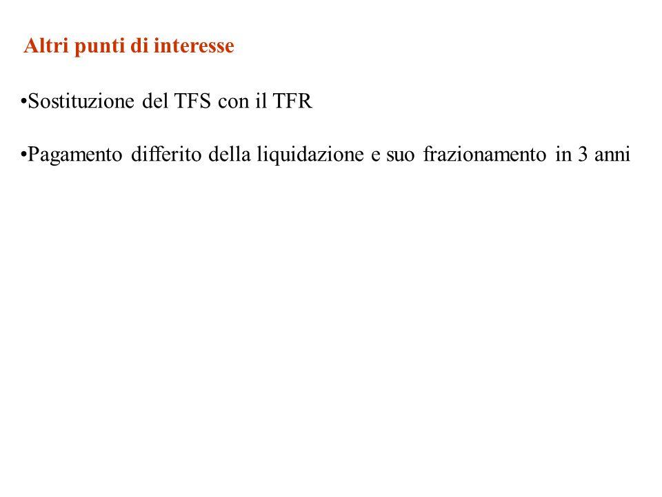 Altri punti di interesse Sostituzione del TFS con il TFR Pagamento differito della liquidazione e suo frazionamento in 3 anni