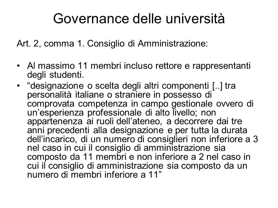 Governance delle università Art. 2, comma 1.
