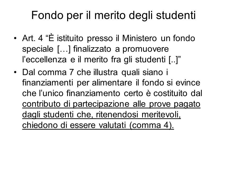 Fondo per il merito degli studenti Art.