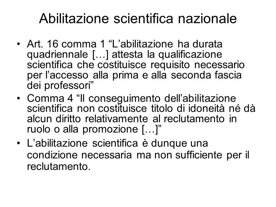 Abilitazione scientifica nazionale Art.