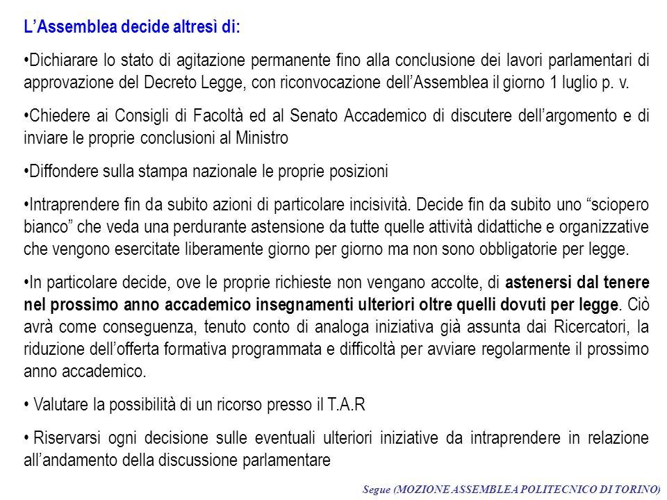 LAssemblea decide altresì di: Dichiarare lo stato di agitazione permanente fino alla conclusione dei lavori parlamentari di approvazione del Decreto Legge, con riconvocazione dellAssemblea il giorno 1 luglio p.