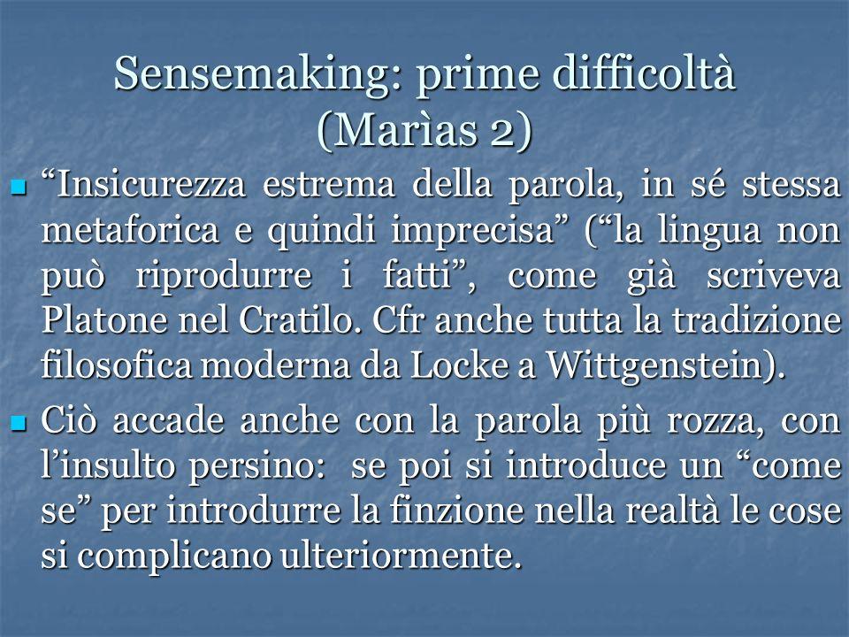 Sensemaking: prime difficoltà (Marìas 2) Insicurezza estrema della parola, in sé stessa metaforica e quindi imprecisa (la lingua non può riprodurre i fatti, come già scriveva Platone nel Cratilo.