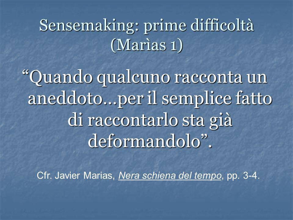 Sensemaking: prime difficoltà (Marìas 1) Quando qualcuno racconta un aneddoto…per il semplice fatto di raccontarlo sta già deformandolo.