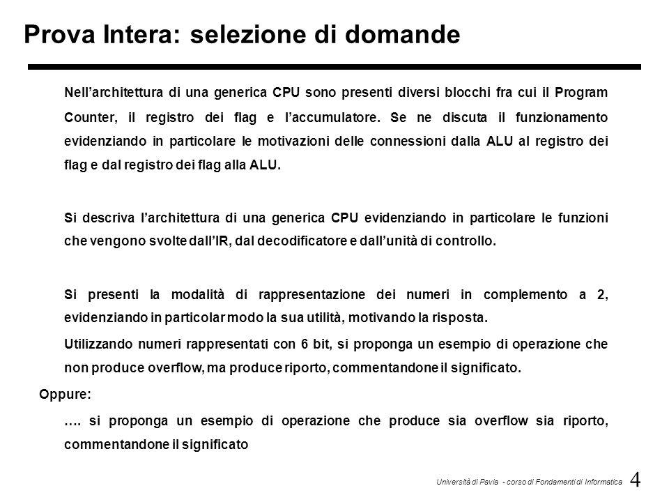 4 Università di Pavia - corso di Fondamenti di Informatica Prova Intera: selezione di domande Nellarchitettura di una generica CPU sono presenti diver