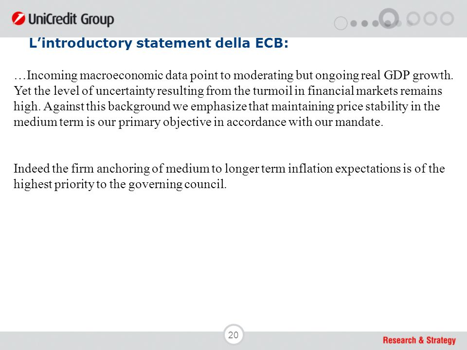20 Lintroductory statement della ECB: …Incoming macroeconomic data point to moderating but ongoing real GDP growth.