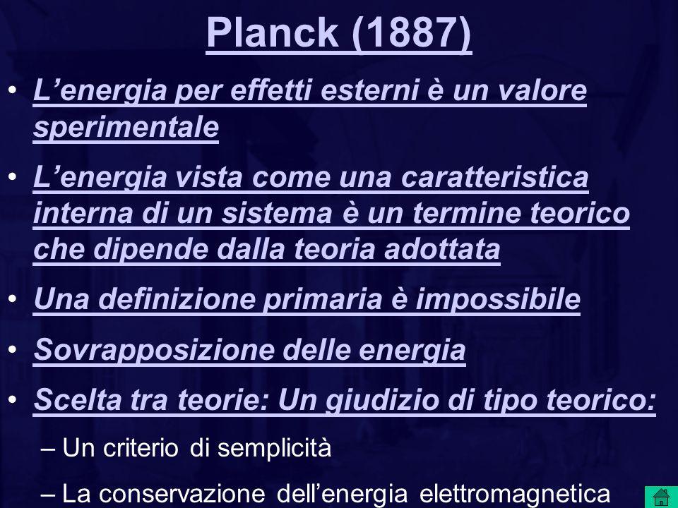 Planck (1887) Lenergia per effetti esterni è un valore sperimentaleLenergia per effetti esterni è un valore sperimentale Lenergia vista come una caratteristica interna di un sistema è un termine teorico che dipende dalla teoria adottataLenergia vista come una caratteristica interna di un sistema è un termine teorico che dipende dalla teoria adottata Una definizione primaria è impossibile Sovrapposizione delle energia Scelta tra teorie: Un giudizio di tipo teorico: –Un criterio di semplicità –La conservazione dellenergia elettromagnetica locale (a contatto) deve prevalere su quella globale –La causalità deve prevalere sulla teleologia