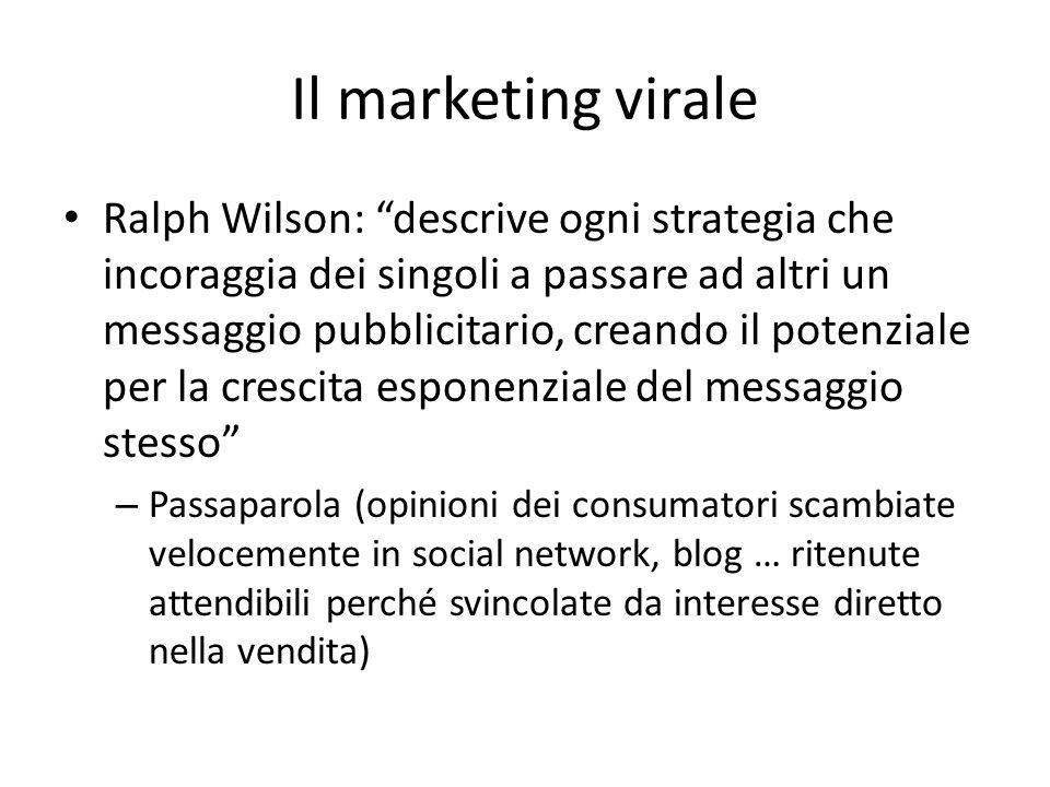 Il marketing virale Ralph Wilson: descrive ogni strategia che incoraggia dei singoli a passare ad altri un messaggio pubblicitario, creando il potenzi