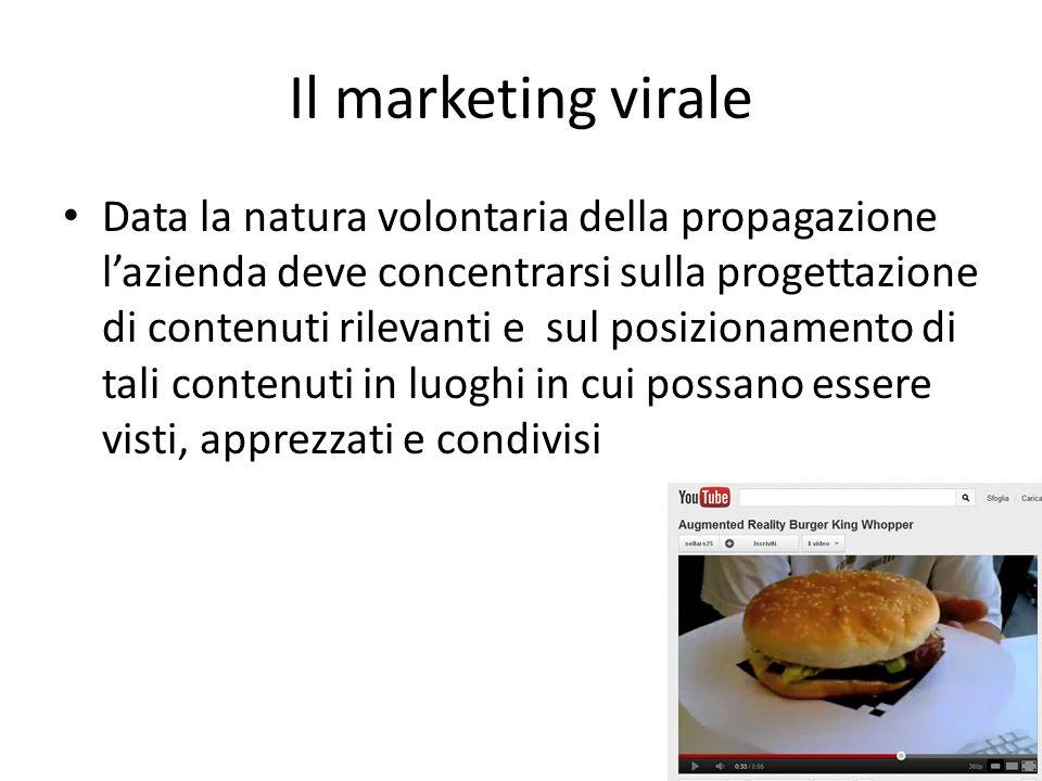 Il marketing virale Data la natura volontaria della propagazione lazienda deve concentrarsi sulla progettazione di contenuti rilevanti e sul posiziona