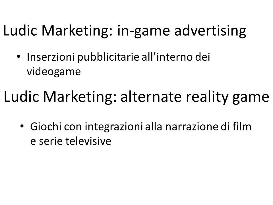 Ludic Marketing: alternate reality game Inserzioni pubblicitarie allinterno dei videogame Ludic Marketing: in-game advertising Giochi con integrazioni