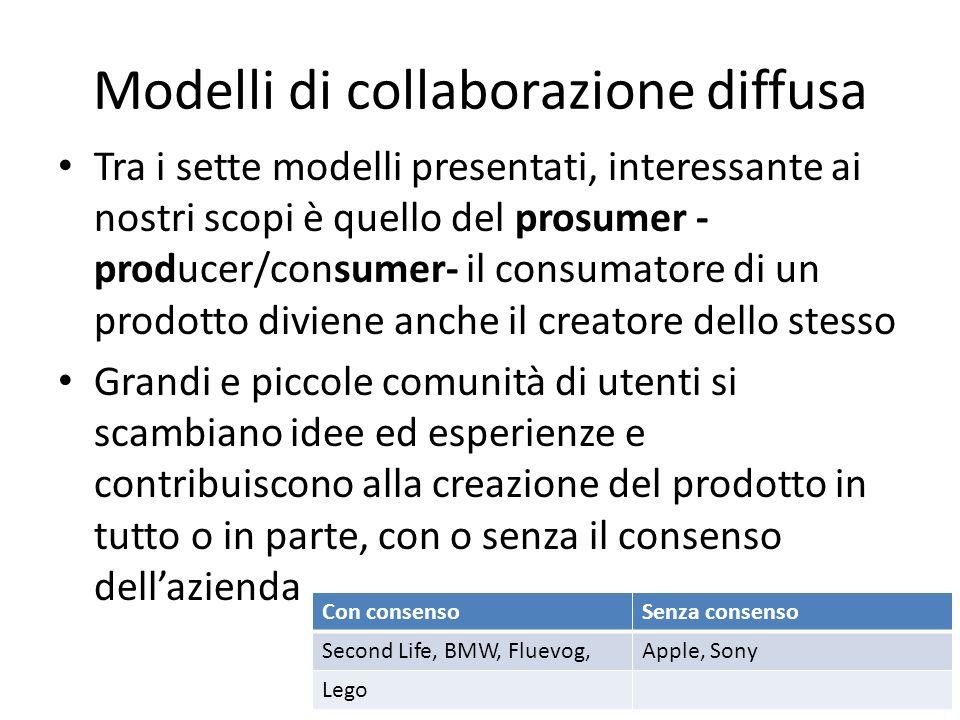 Modelli di collaborazione diffusa Tra i sette modelli presentati, interessante ai nostri scopi è quello del prosumer - producer/consumer- il consumato