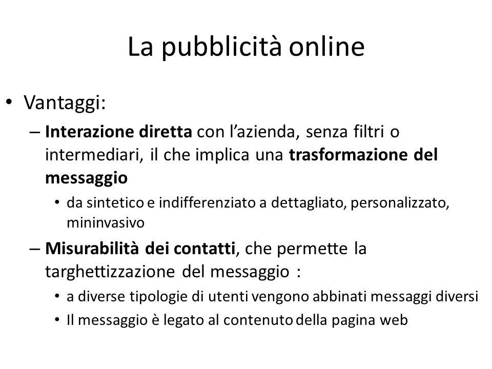 La pubblicità online Vantaggi: – Interazione diretta con lazienda, senza filtri o intermediari, il che implica una trasformazione del messaggio da sin