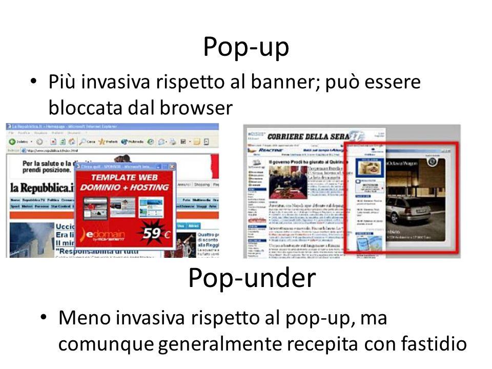 Pop-up Più invasiva rispetto al banner; può essere bloccata dal browser Pop-under Meno invasiva rispetto al pop-up, ma comunque generalmente recepita
