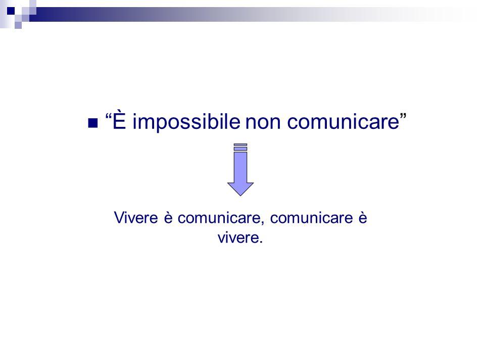 È impossibile non comunicare Vivere è comunicare, comunicare è vivere.