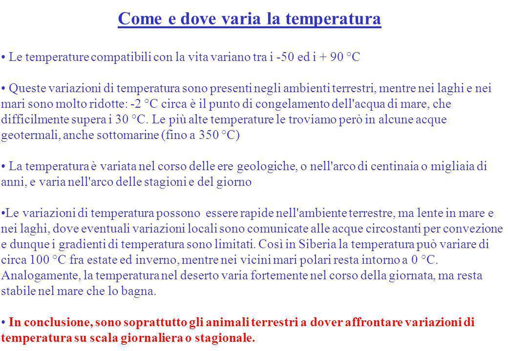 Come e dove varia la temperatura Le temperature compatibili con la vita variano tra i -50 ed i + 90 °C Queste variazioni di temperatura sono presenti
