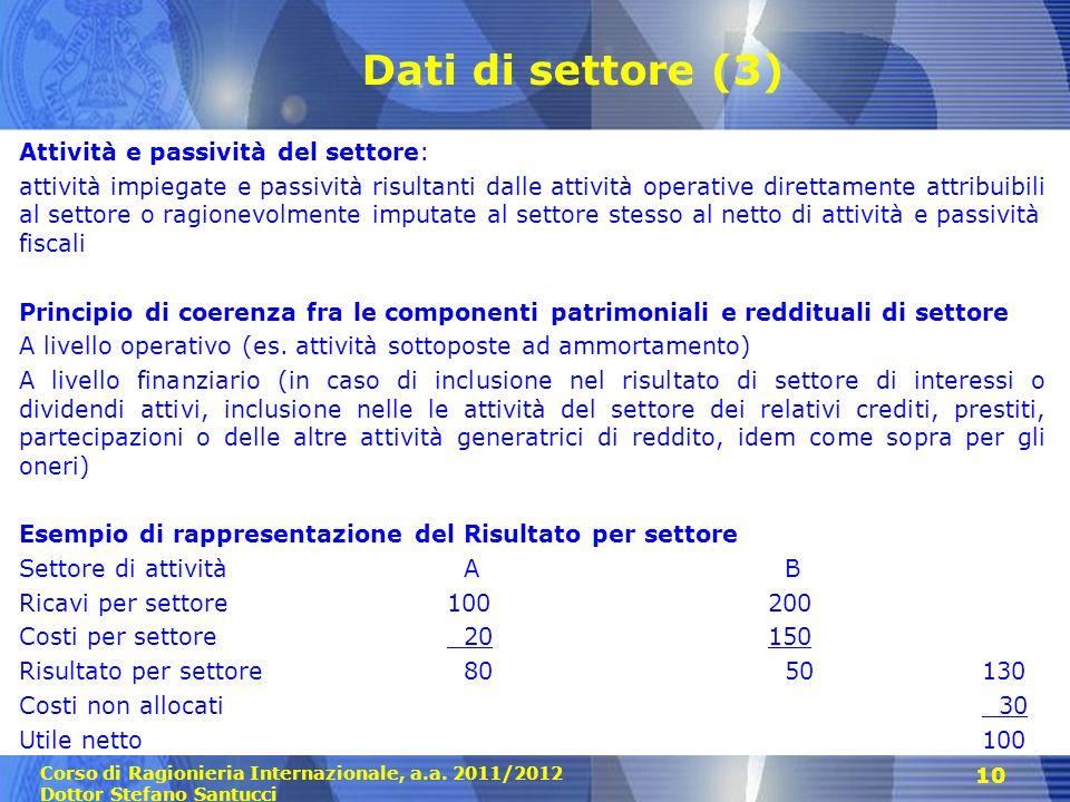 Corso di Ragionieria Internazionale, a.a. 2011/2012 Dottor Stefano Santucci 10 Dati di settore (3) Attività e passività del settore: attività impiegat