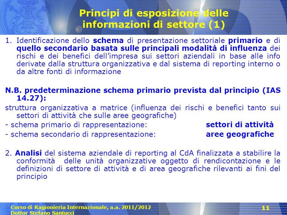 Corso di Ragionieria Internazionale, a.a. 2011/2012 Dottor Stefano Santucci 11 Principi di esposizione delle informazioni di settore (1) 1.Identificaz