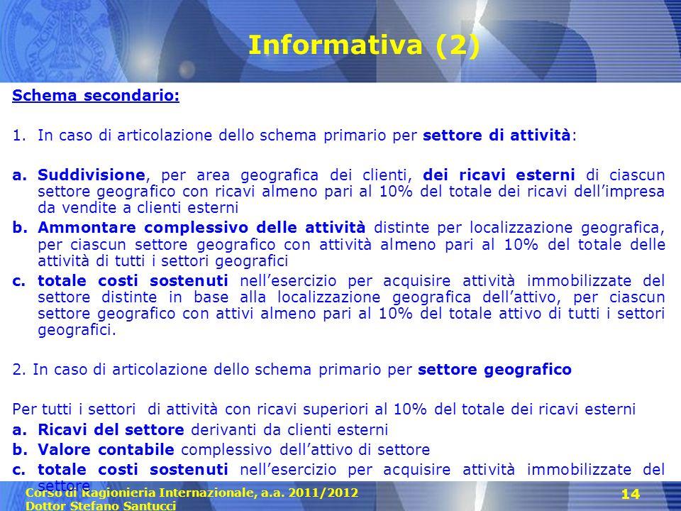 Corso di Ragionieria Internazionale, a.a. 2011/2012 Dottor Stefano Santucci 14 Informativa (2) Schema secondario: 1.In caso di articolazione dello sch