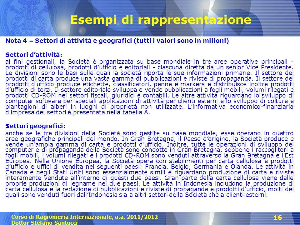 Corso di Ragionieria Internazionale, a.a. 2011/2012 Dottor Stefano Santucci 16 Esempi di rappresentazione Nota 4 – Settori di attività e geografici (t