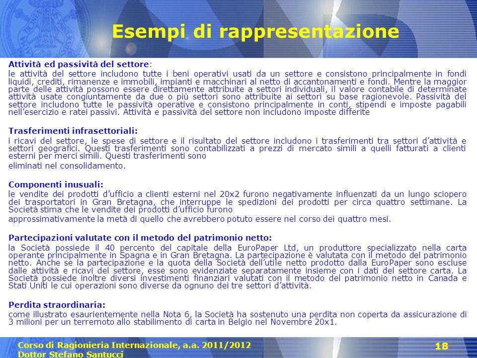 Corso di Ragionieria Internazionale, a.a. 2011/2012 Dottor Stefano Santucci 18 Esempi di rappresentazione Attività ed passività del settore: le attivi