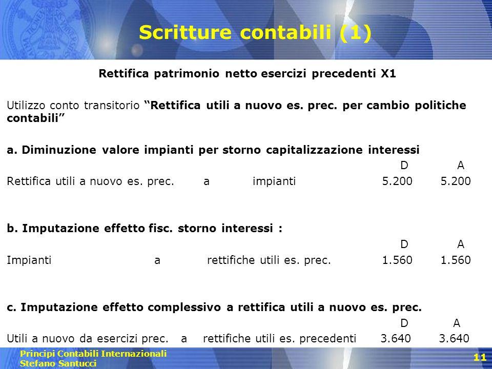 Principi Contabili Internazionali Stefano Santucci 12 Scritture contabili (2) Rettifica utile dellesercizio di comparazione Utilizzo conto Rettifica utili a nuovo es.