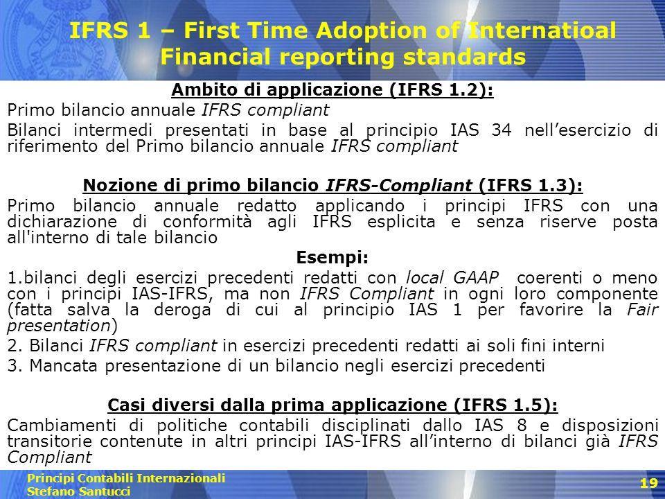 Principi Contabili Internazionali Stefano Santucci 20 Lo Stato Patrimoniale di apertura Alla data di passaggio agli IAS/IFRS (Inizio del più remoto esercizio di comparazione dei dati con quelli di prima applicazione principi IAS-IFRS): Redazione S.P.