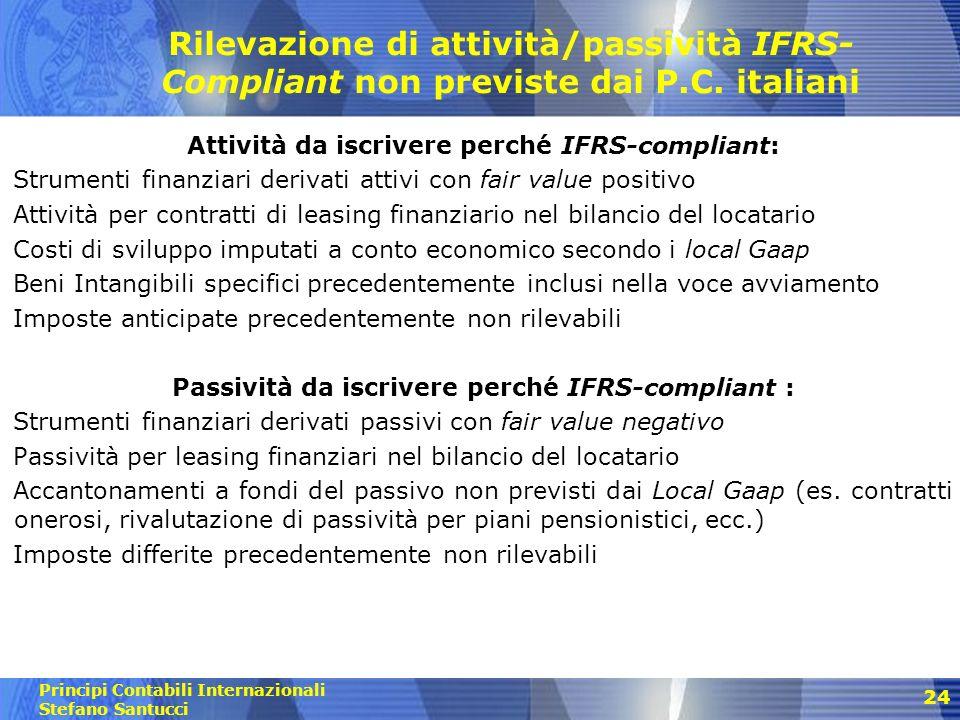 Principi Contabili Internazionali Stefano Santucci 25 Storno di attività/passività previste dai P.C.