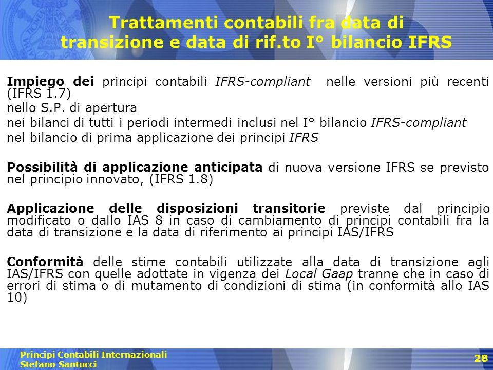 Principi Contabili Internazionali Stefano Santucci Prospetto di riconciliazione del PN