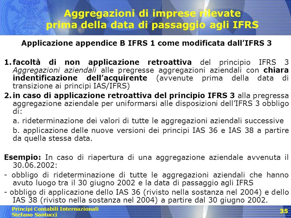 Principi Contabili Internazionali Stefano Santucci Esenzione Business Combination (Ifrs 3) In sede di FTA è possibile non applicare retroattivamente il principio contabile relativo alle operazioni di aggregazione aziendale.