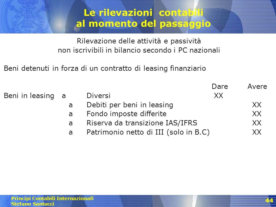 Principi Contabili Internazionali Stefano Santucci 45 Le rilevazioni contabili al momento del passaggio Cancellazione delle attività e passività non rilevabili secondo i PC internazionali Es.