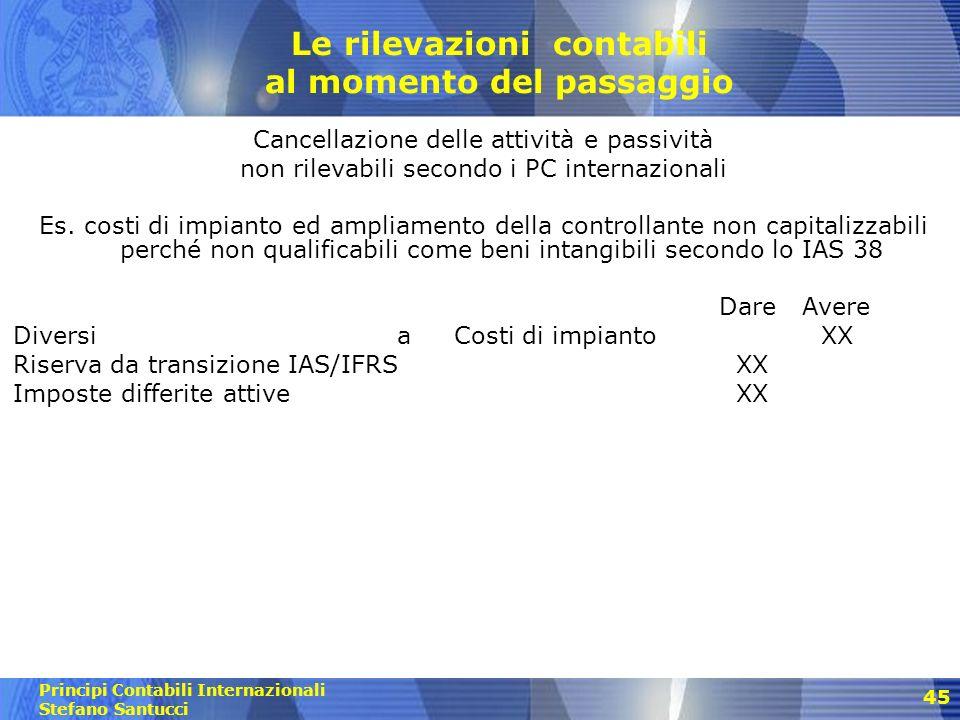 Principi Contabili Internazionali Stefano Santucci 46 Le rilevazioni contabili al momento del passaggio Cancellazione delle attività e passività non rilevabili secondo i PC internazionali Es.