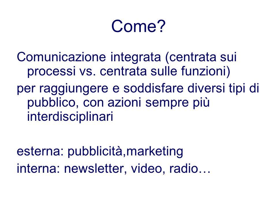 Come? Comunicazione integrata (centrata sui processi vs. centrata sulle funzioni) per raggiungere e soddisfare diversi tipi di pubblico, con azioni se
