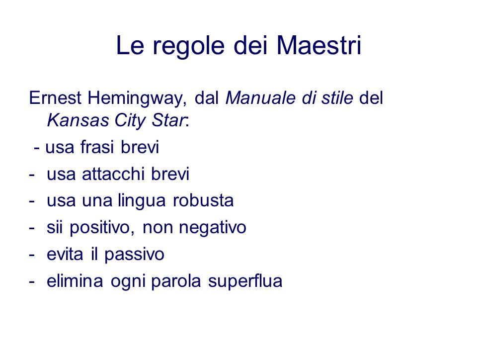 Le regole dei Maestri Ernest Hemingway, dal Manuale di stile del Kansas City Star: - usa frasi brevi -usa attacchi brevi -usa una lingua robusta -sii