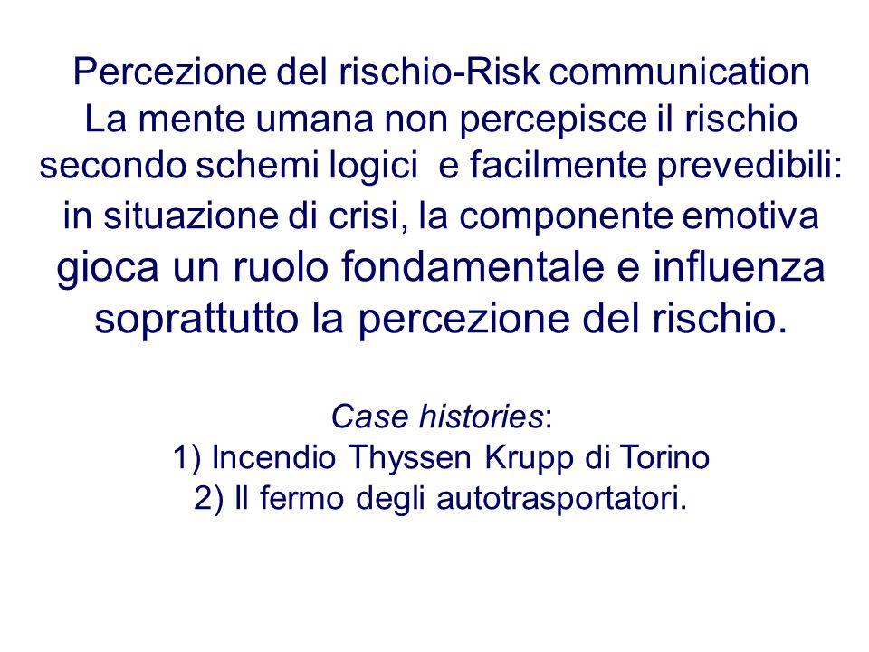 Percezione del rischio-Risk communication La mente umana non percepisce il rischio secondo schemi logici e facilmente prevedibili: in situazione di cr