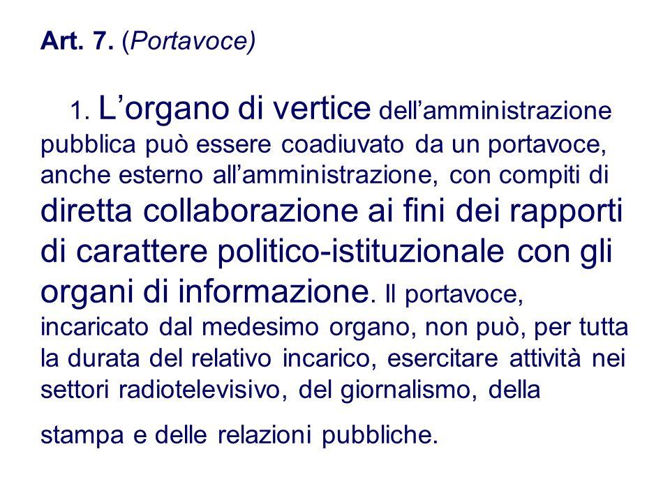 Art. 7. (Portavoce) 1. Lorgano di vertice dellamministrazione pubblica può essere coadiuvato da un portavoce, anche esterno allamministrazione, con co