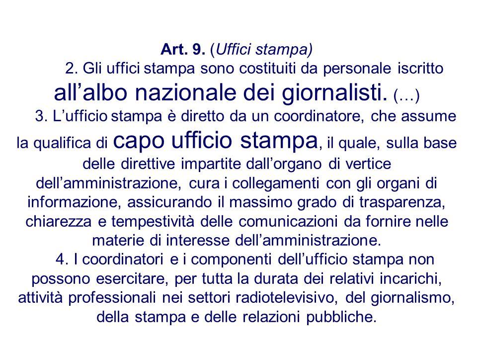 Art. 9. (Uffici stampa) 2. Gli uffici stampa sono costituiti da personale iscritto allalbo nazionale dei giornalisti. (…) 3. Lufficio stampa è diretto