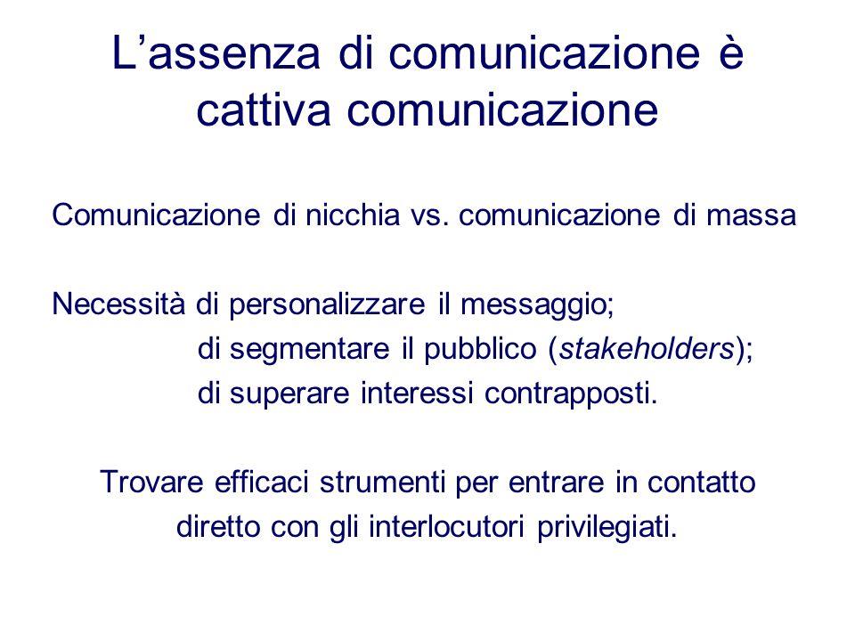 Lassenza di comunicazione è cattiva comunicazione Comunicazione di nicchia vs. comunicazione di massa Necessità di personalizzare il messaggio; di seg