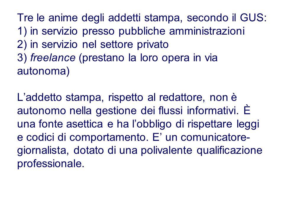 Tre le anime degli addetti stampa, secondo il GUS: 1) in servizio presso pubbliche amministrazioni 2) in servizio nel settore privato 3) freelance (pr