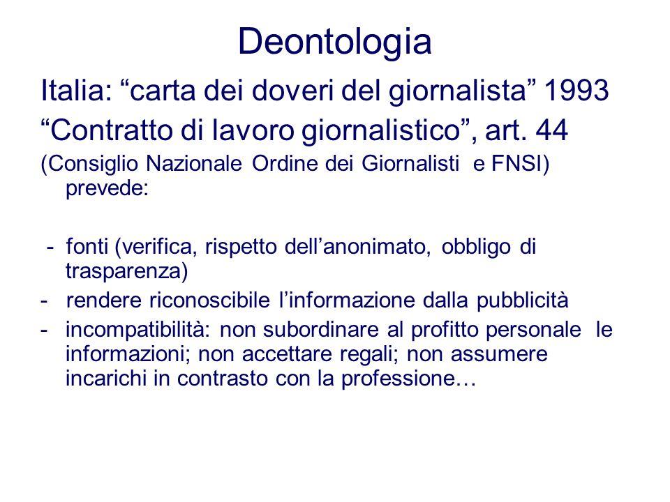 Deontologia Italia: carta dei doveri del giornalista 1993 Contratto di lavoro giornalistico, art. 44 (Consiglio Nazionale Ordine dei Giornalisti e FNS