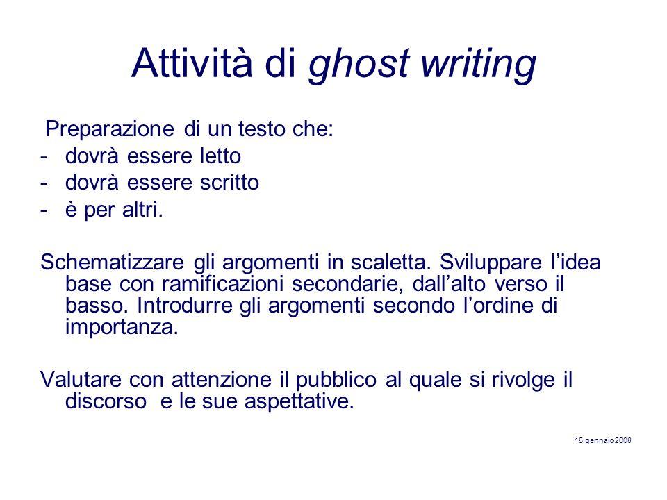 Attività di ghost writing Preparazione di un testo che: -dovrà essere letto -dovrà essere scritto -è per altri. Schematizzare gli argomenti in scalett