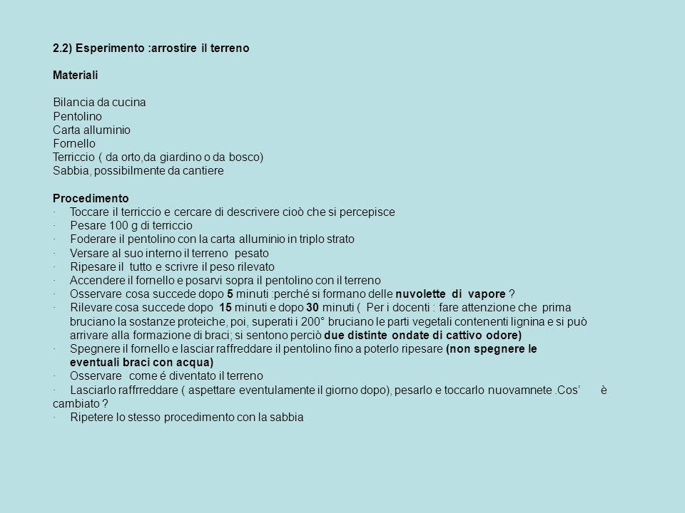 2.2) Esperimento :arrostire il terreno Materiali Bilancia da cucina Pentolino Carta alluminio Fornello Terriccio ( da orto,da giardino o da bosco) Sab