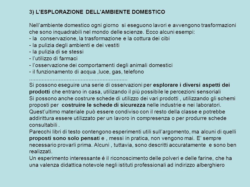 3) LESPLORAZIONE DELLAMBIENTE DOMESTICO Nellambiente domestico ogni giorno si eseguono lavori e avvengono trasformazioni che sono inquadrabili nel mon