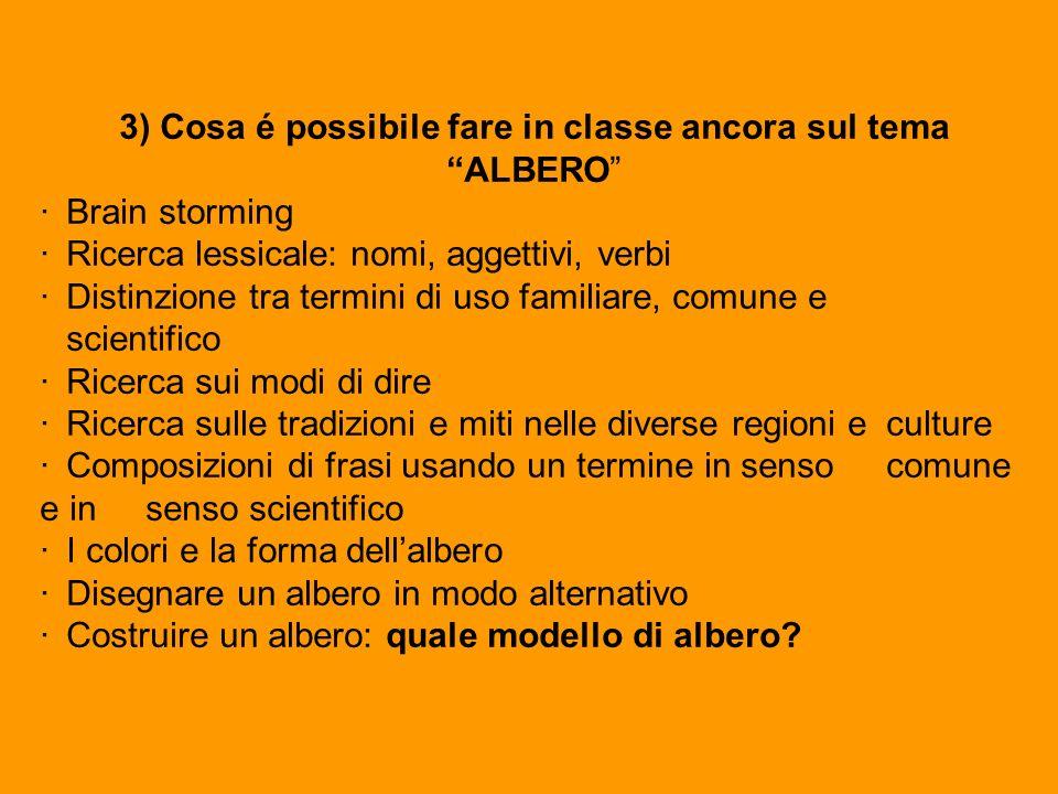 3) Cosa é possibile fare in classe ancora sul tema ALBERO ·Brain storming ·Ricerca lessicale: nomi, aggettivi, verbi ·Distinzione tra termini di uso f