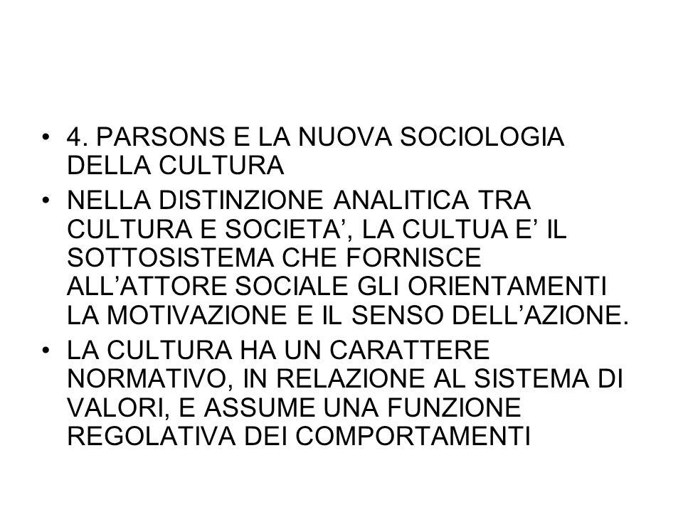 4. PARSONS E LA NUOVA SOCIOLOGIA DELLA CULTURA NELLA DISTINZIONE ANALITICA TRA CULTURA E SOCIETA, LA CULTUA E IL SOTTOSISTEMA CHE FORNISCE ALLATTORE S
