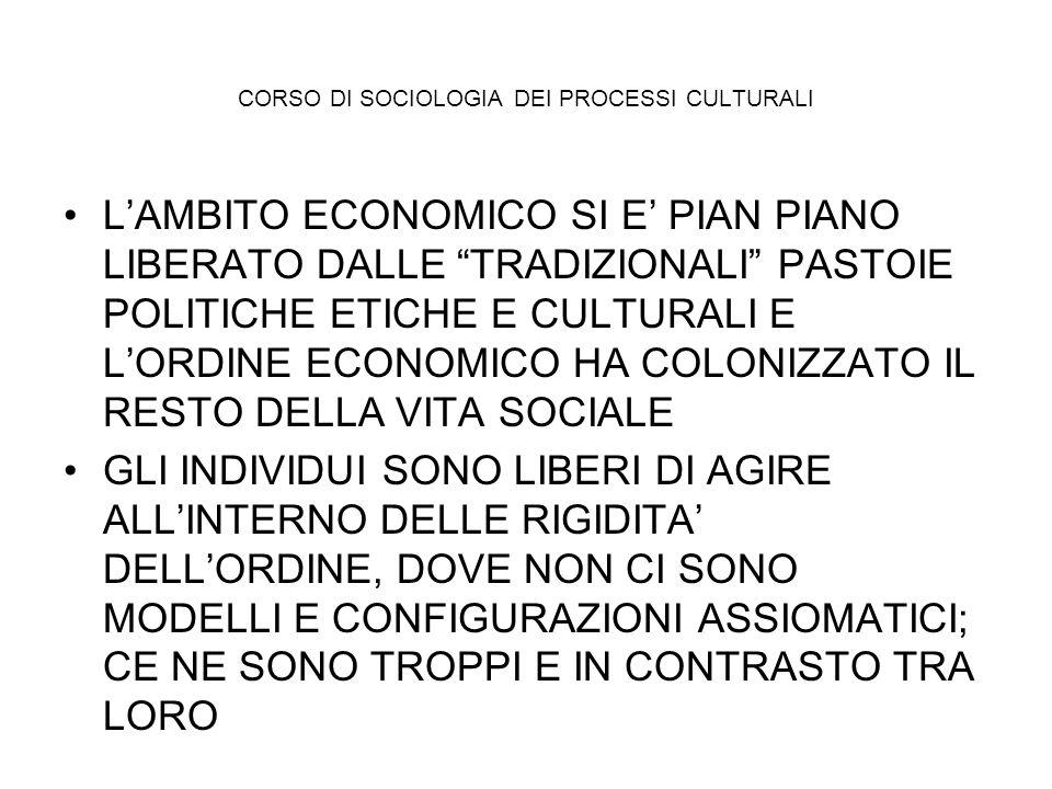CORSO DI SOCIOLOGIA DEI PROCESSI CULTURALI LAMBITO ECONOMICO SI E PIAN PIANO LIBERATO DALLE TRADIZIONALI PASTOIE POLITICHE ETICHE E CULTURALI E LORDIN