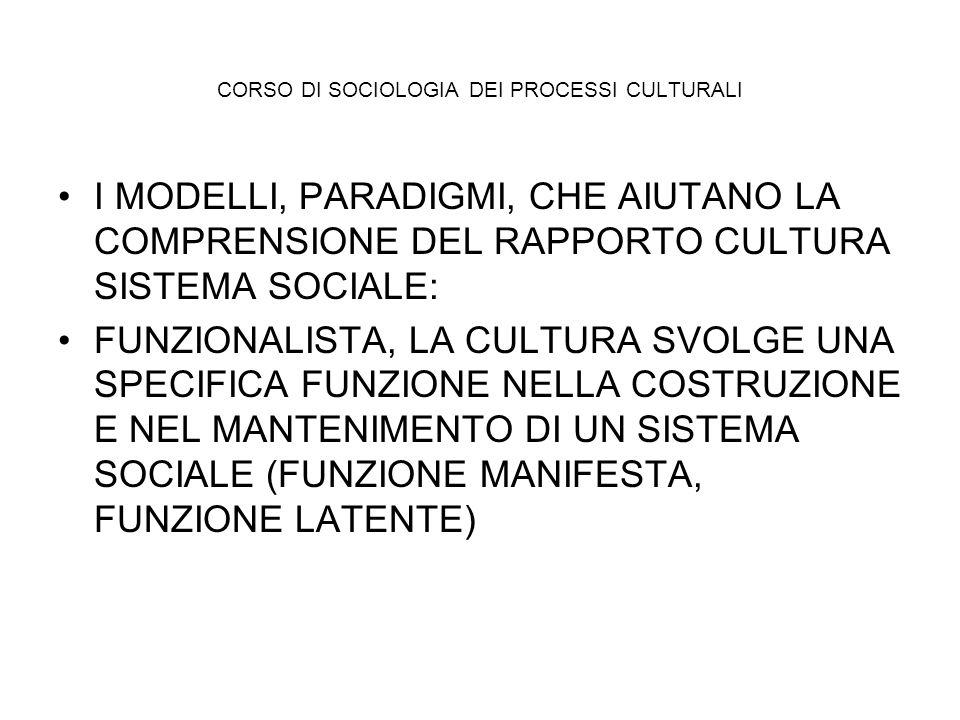 CORSO DI SOCIOLOGIA DEI PROCESSI CULTURALI I MODELLI, PARADIGMI, CHE AIUTANO LA COMPRENSIONE DEL RAPPORTO CULTURA SISTEMA SOCIALE: FUNZIONALISTA, LA C
