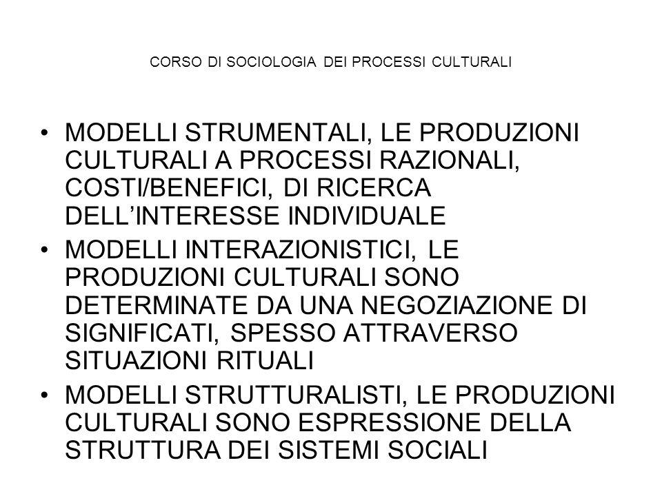 CORSO DI SOCIOLOGIA DEI PROCESSI CULTURALI MODELLI STRUMENTALI, LE PRODUZIONI CULTURALI A PROCESSI RAZIONALI, COSTI/BENEFICI, DI RICERCA DELLINTERESSE