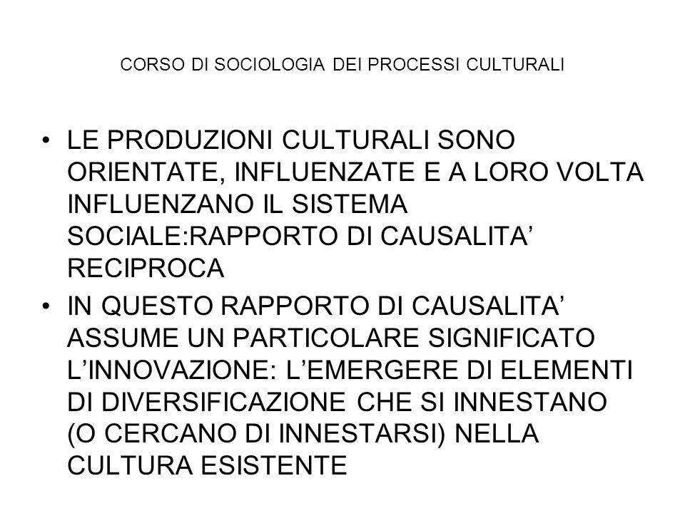 CORSO DI SOCIOLOGIA DEI PROCESSI CULTURALI LE PRODUZIONI CULTURALI SONO ORIENTATE, INFLUENZATE E A LORO VOLTA INFLUENZANO IL SISTEMA SOCIALE:RAPPORTO