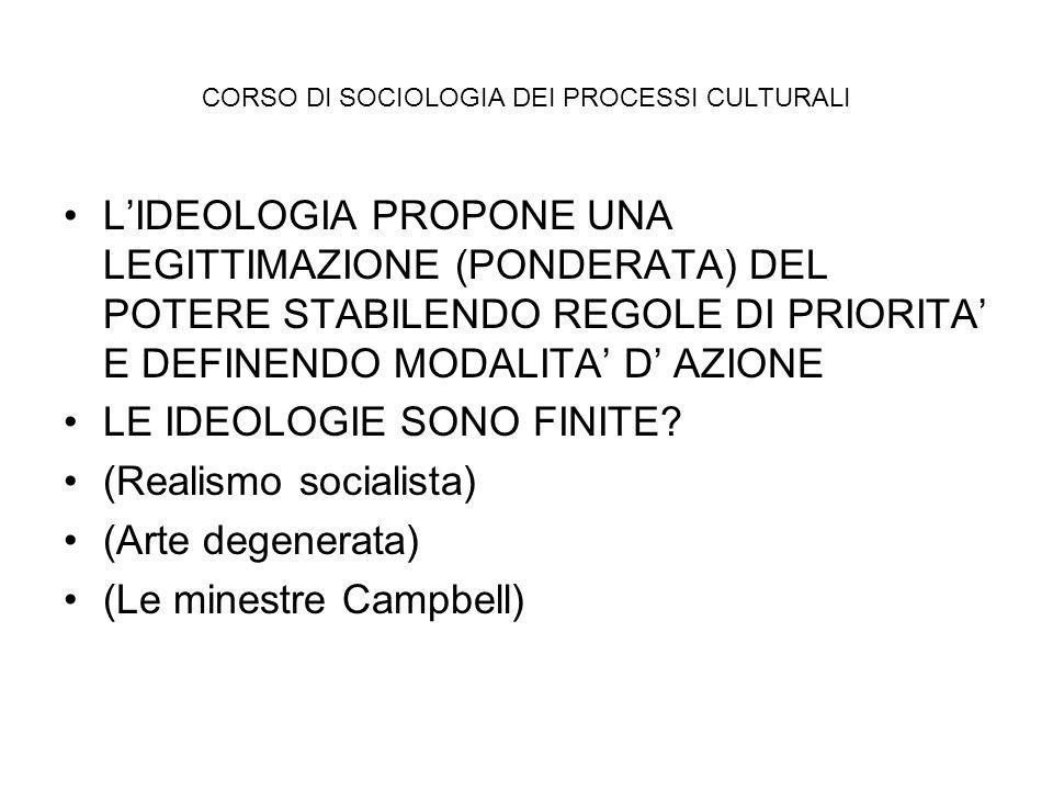 CORSO DI SOCIOLOGIA DEI PROCESSI CULTURALI LIDEOLOGIA PROPONE UNA LEGITTIMAZIONE (PONDERATA) DEL POTERE STABILENDO REGOLE DI PRIORITA E DEFINENDO MODA