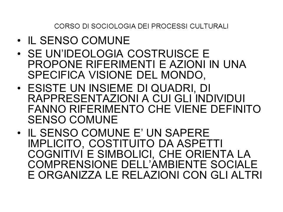 CORSO DI SOCIOLOGIA DEI PROCESSI CULTURALI IL SENSO COMUNE SE UNIDEOLOGIA COSTRUISCE E PROPONE RIFERIMENTI E AZIONI IN UNA SPECIFICA VISIONE DEL MONDO