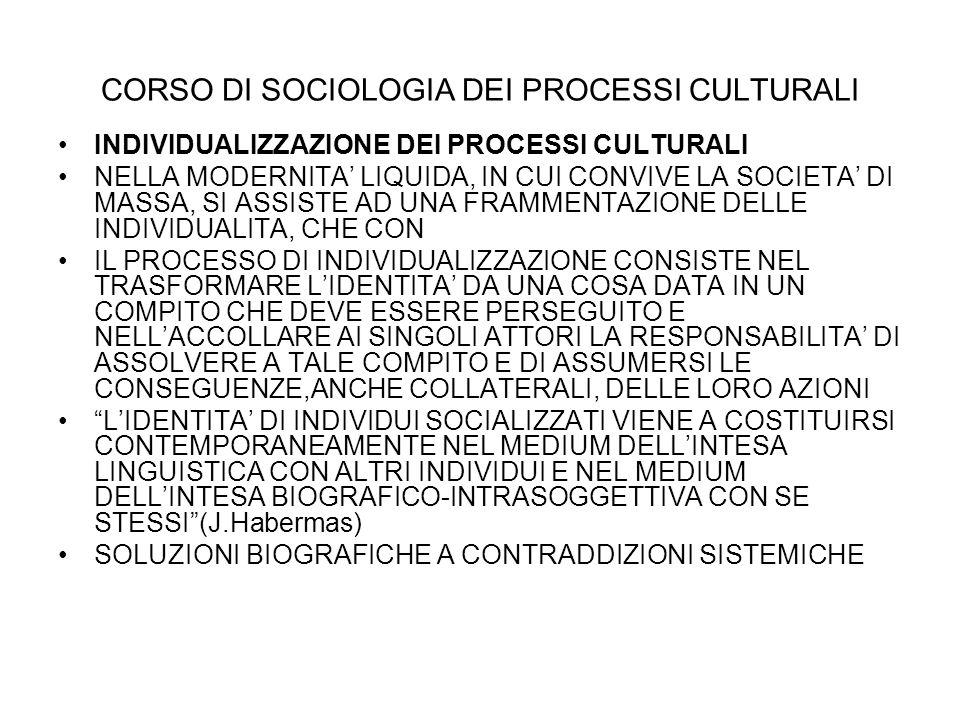 INDIVIDUALIZZAZIONE DEI PROCESSI CULTURALI NELLA MODERNITA LIQUIDA, IN CUI CONVIVE LA SOCIETA DI MASSA, SI ASSISTE AD UNA FRAMMENTAZIONE DELLE INDIVID